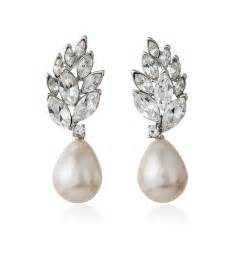 earrings for bridesmaids leaf pearl drop bridal earring wedding jewelry by loverly