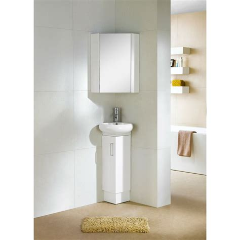 Small White Vanity by Fixtures Milan Wood White Small Corner Bathroom