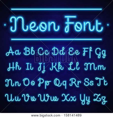neon light letters font glowing neon calligraphic letters vector photo bigstock
