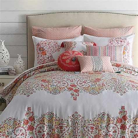 Jessica Simpson Sabine Reversible Comforter Set in Coral