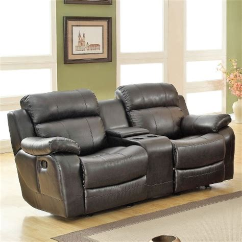 darrin leather reclining sofa with console darrin leather reclining loveseat with console black