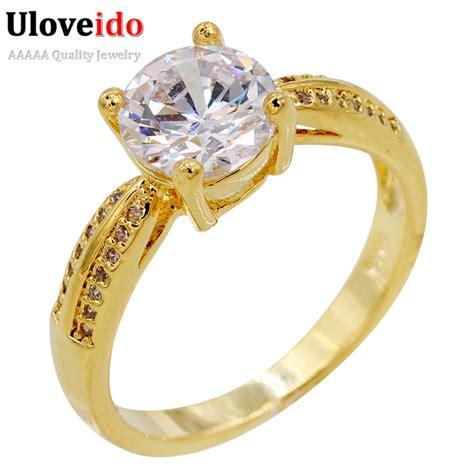 uloveido gold plated rhinstones crystal wedding ring