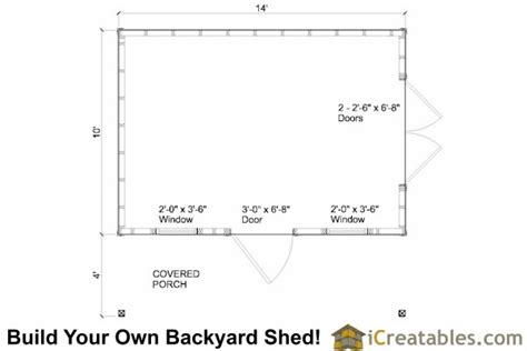 10x14 colonial shed with porch plans icreatables sheds
