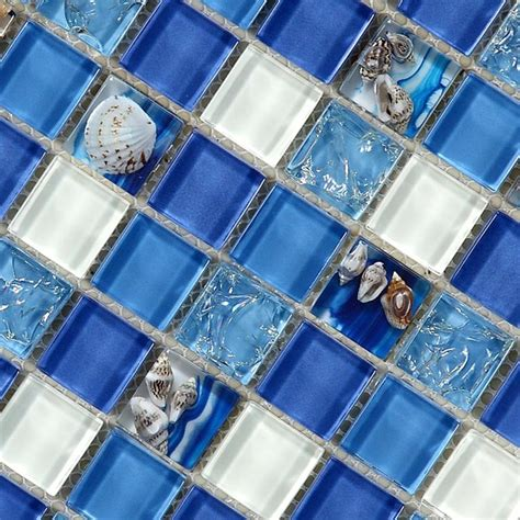 glass tile 12x12 natural sea shell in blue glass mosaic tiles 12x12 wall and floor mosaic tile for bathroom