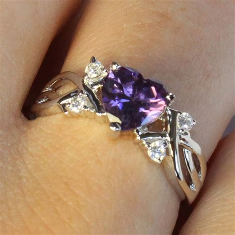 Amethyst (purple) Heart Shaped Promise Ring  Beautiful. Stud Earrings. Big Flower Stud Earrings. Cubic Necklace. Silk Earrings. Shank Engagement Rings. Analog Watches. Engagement Ring Wedding Ring. Guess Watches