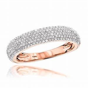thin 14k gold micro pave diamond wedding band 05ct With pave diamond engagement rings wedding bands