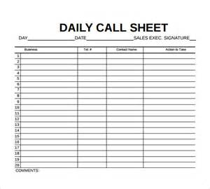 Sheet Template 8 Sle Call Sheet Templates Free Sle Exle Format