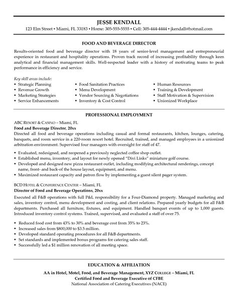 cv cuisine 28 sle resume for food and beverage supervisor