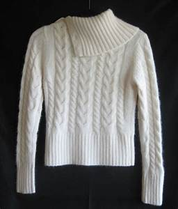 BANANA REPUBLIC Womens Sweater White Angora Wool Cable ...