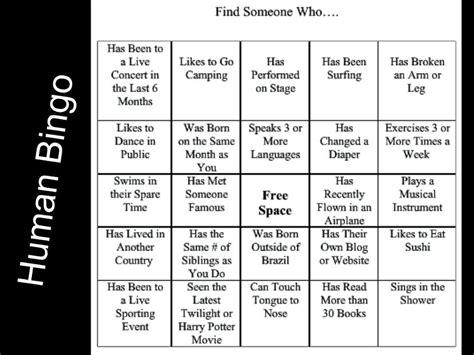human bingo template the gallery for gt human bingo icebreaker