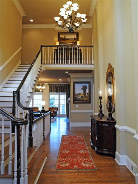 traditional  story foyer  large chandelier
