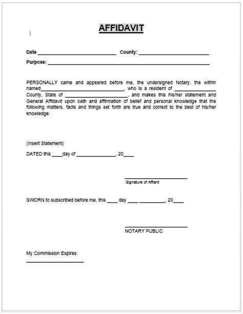 affidavit template affidavit form microsoft word templates