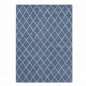 tapis design berbere bleu en laine et viscose par ligne pure With tapis en ligne