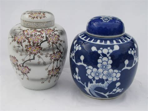 blue ginger jar ls cherry blossoms vintage porcelain ginger jars blue