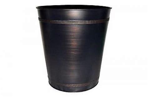 Bronze Bathroom Trash Can With Lid by Steel Beaded Rubbed Bronze Waste Basket Garbage Bin