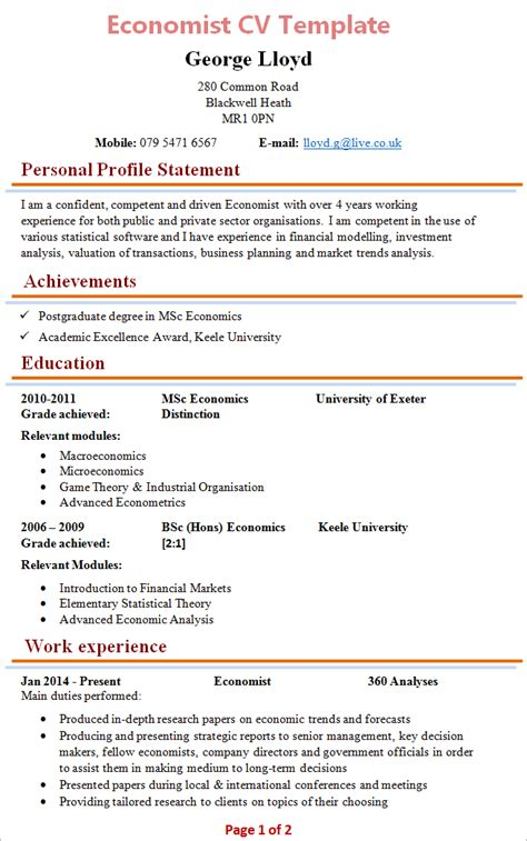 What To Put On A Cv For A by Economist Cv Template