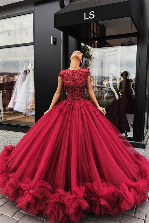 Red Tulle Ball Gown Prom Dress Sweet 16 Dresses