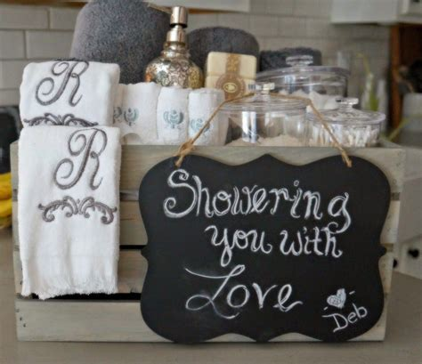 What To Give On Bridal Shower - bathroom grey washed wood crate bridal shower gift