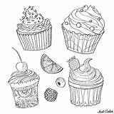 Coloring Cupcakes Cakes Pages Justcolor Children Adult Print Printable Gifts sketch template