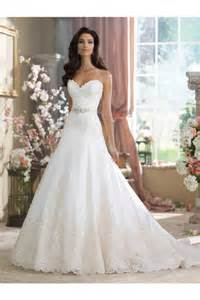 strapless a line wedding dresses a line strapless sweetheart satin lace wedding dress with crystals sash