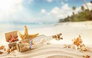 Beach Sea Shell Collection, Bottle, Sand widescreen