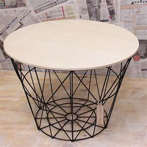 large wooden table metal wire with lid storage basket With metal basket coffee table