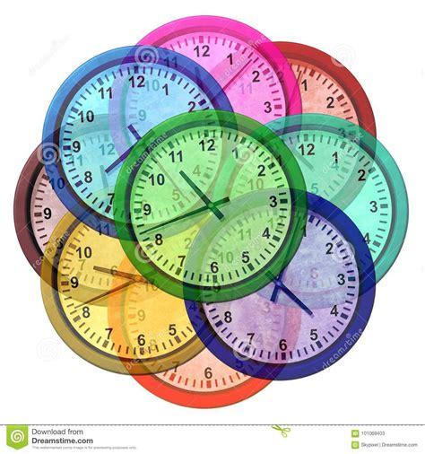 time zone clocks stock illustration illustration white