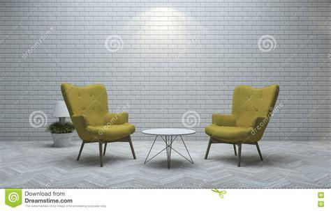 3d Che Rende Poltrona Gialla Nel Salone Bianco Del Muro Di
