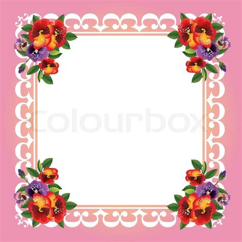 wood table vector frame with beautiful flowers stock vector colourbox