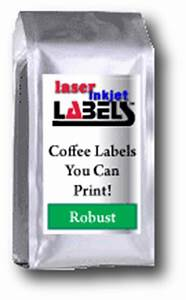 Coffee bag labels for use through laser and inkjet printers for Coffee bag label printer