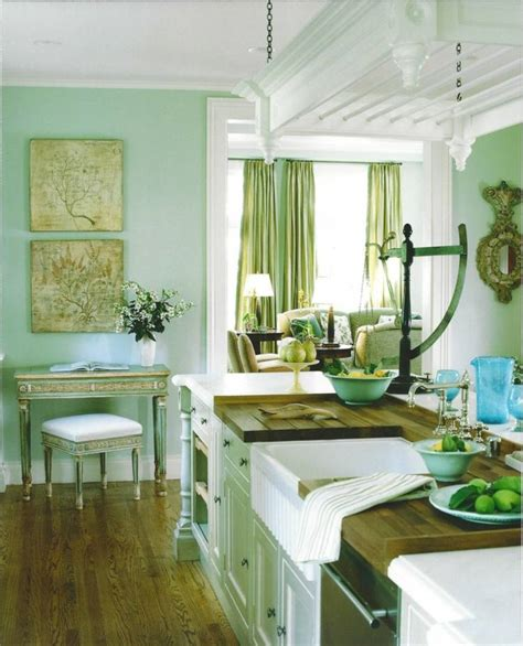 blue and green kitchen decor d 233 co cuisine vert menthe 7925