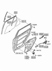 2008 Hyundai Santa Fe Rear Door Window Regulator  U0026 Glass