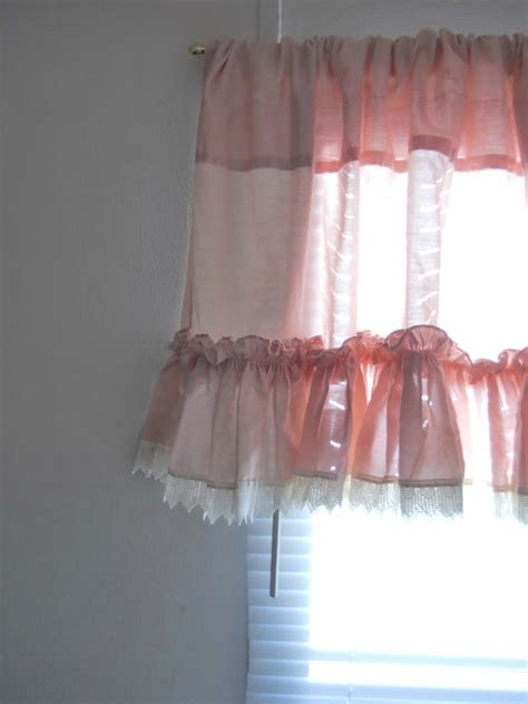 pink ruffle curtain topper pink valance bedroom valance window valance curtain