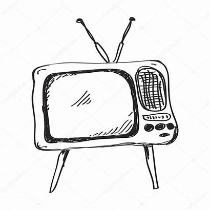 Television Doodle Drawing Simple Drawn Hand Vector