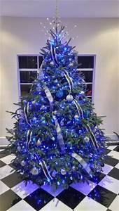 Blue Christmas tree view from outside