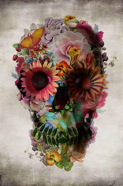 Ali Gulec Skull Floral Illustration Digital Illustrations
