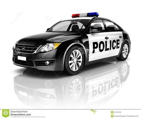 Voiture De Police Du Noir 3d Sur Le Fond Blanc