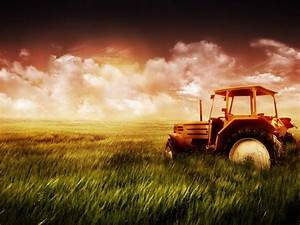 Green Farm Field and Tractor Wallpaper