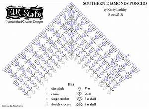 Southern Diamonds Poncho Stitch Diagram 27-36