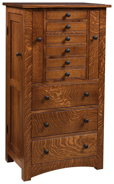 deluxe flush mission jewelry armoire  pull  doors