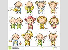 Zodiac Sighns As Kids Stock Vector Image 44761261