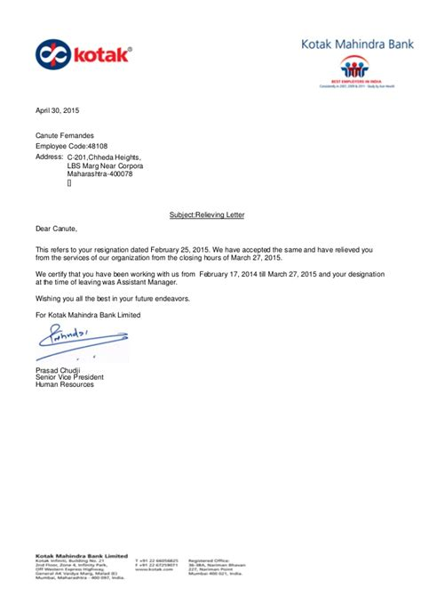 relieving letter format  absence intimation