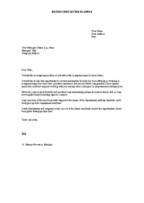 Resignation Letter Template In Word Format Collection