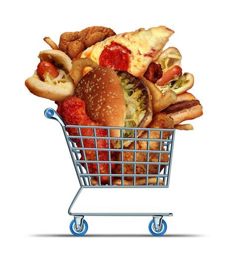 lebensmittel einkaufen ungesundes lebensmittel einkaufen stock abbildung