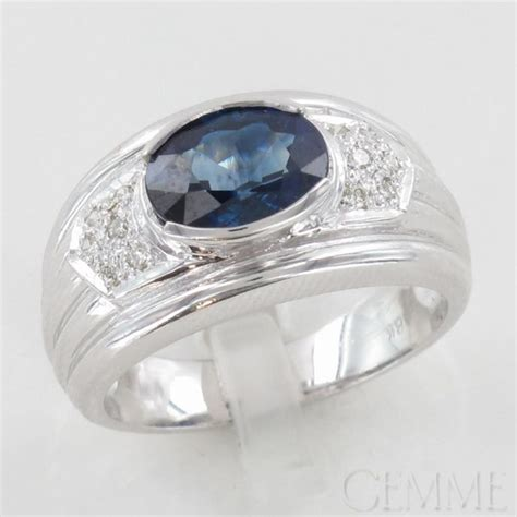 bague jonc or blanc saphir ovale diamant taille moderne