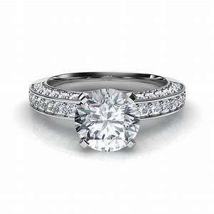 Three sided pave diamonds engagement ring for Pave wedding rings