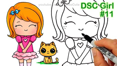 draw chibi girl  kitten step  step cute kids