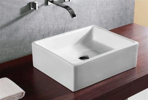Above Counter Ceramic Square Vessel Sink By Caracalla