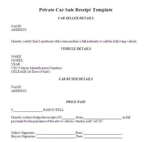 vehicle sale receipt template australia printable
