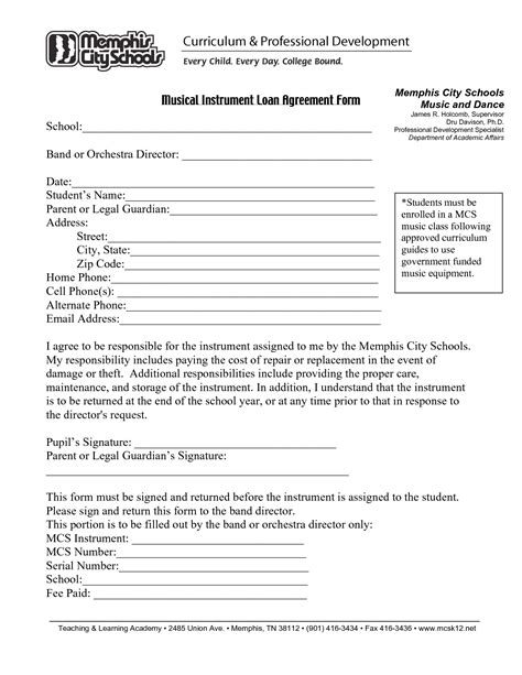 printable loan agreement form form generic